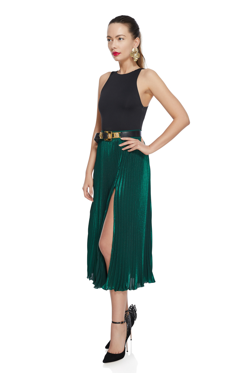 Emerald pleated midi skirt