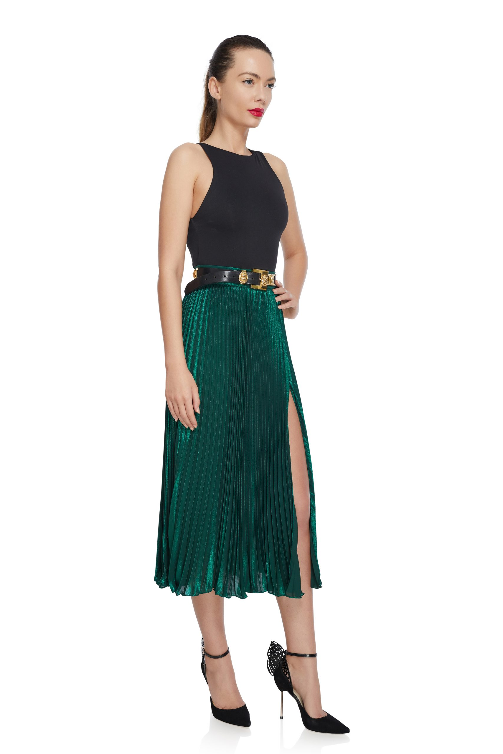 Emerald pleated midi skirt