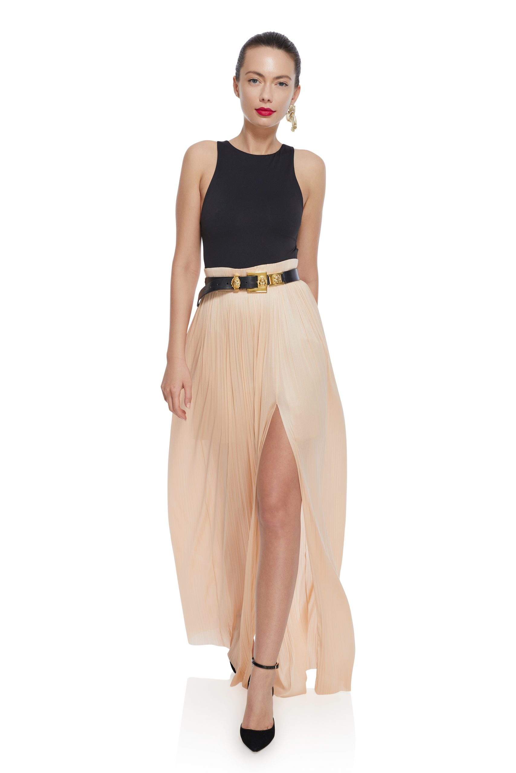 Long nude silk skirt