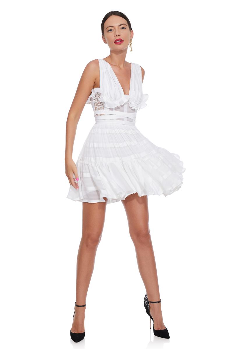 White cotton ruffled dress
