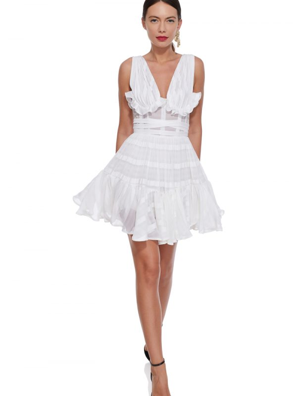 White cotton ruffled dress