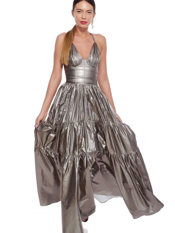 Silver corset evening gown