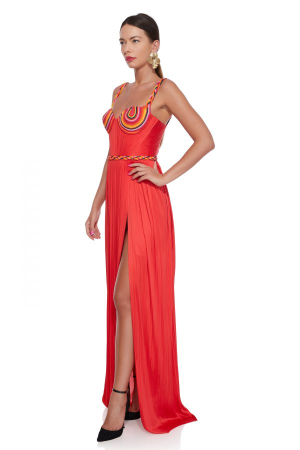 Draped corset evening dress