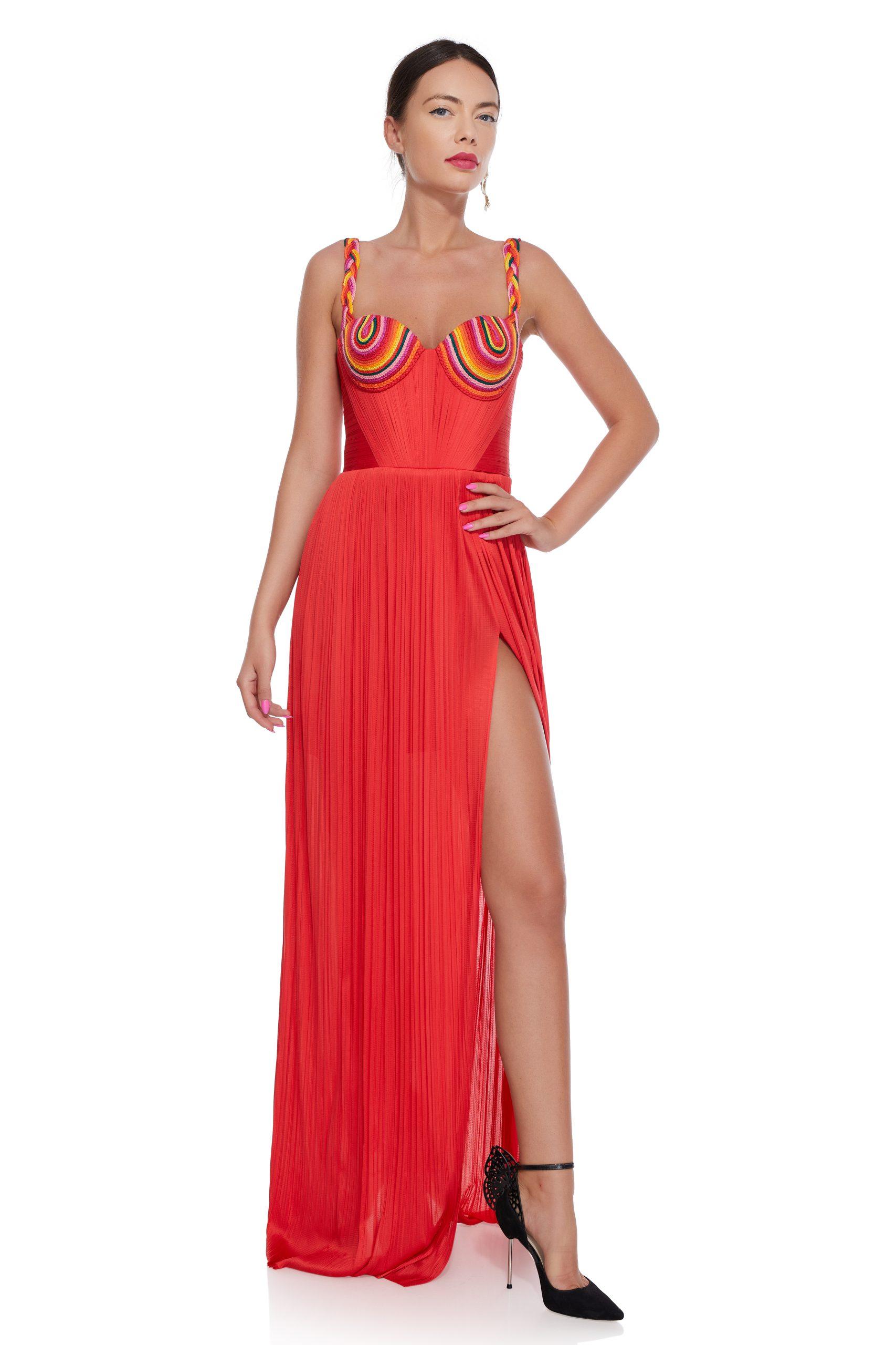 Draped corset evening dress