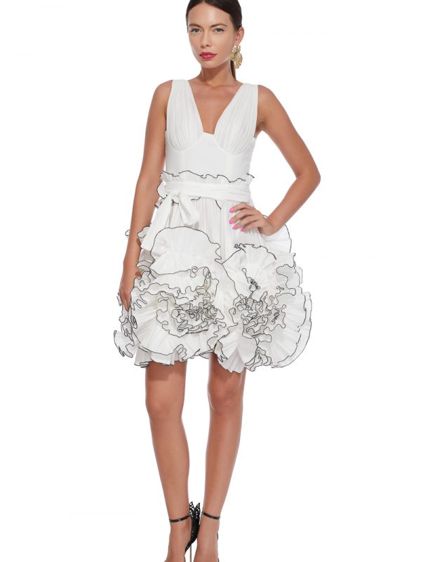 Over-sized flowers cocktail dress