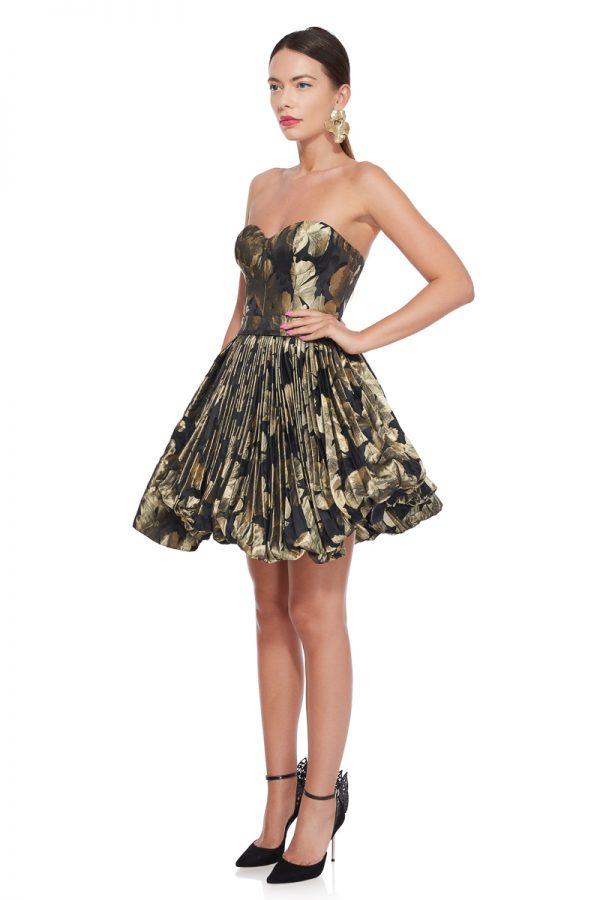 Brocade corset cocktail dress