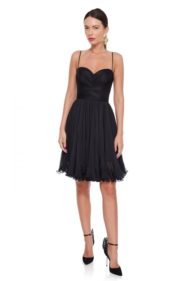 Black silk cocktail dress