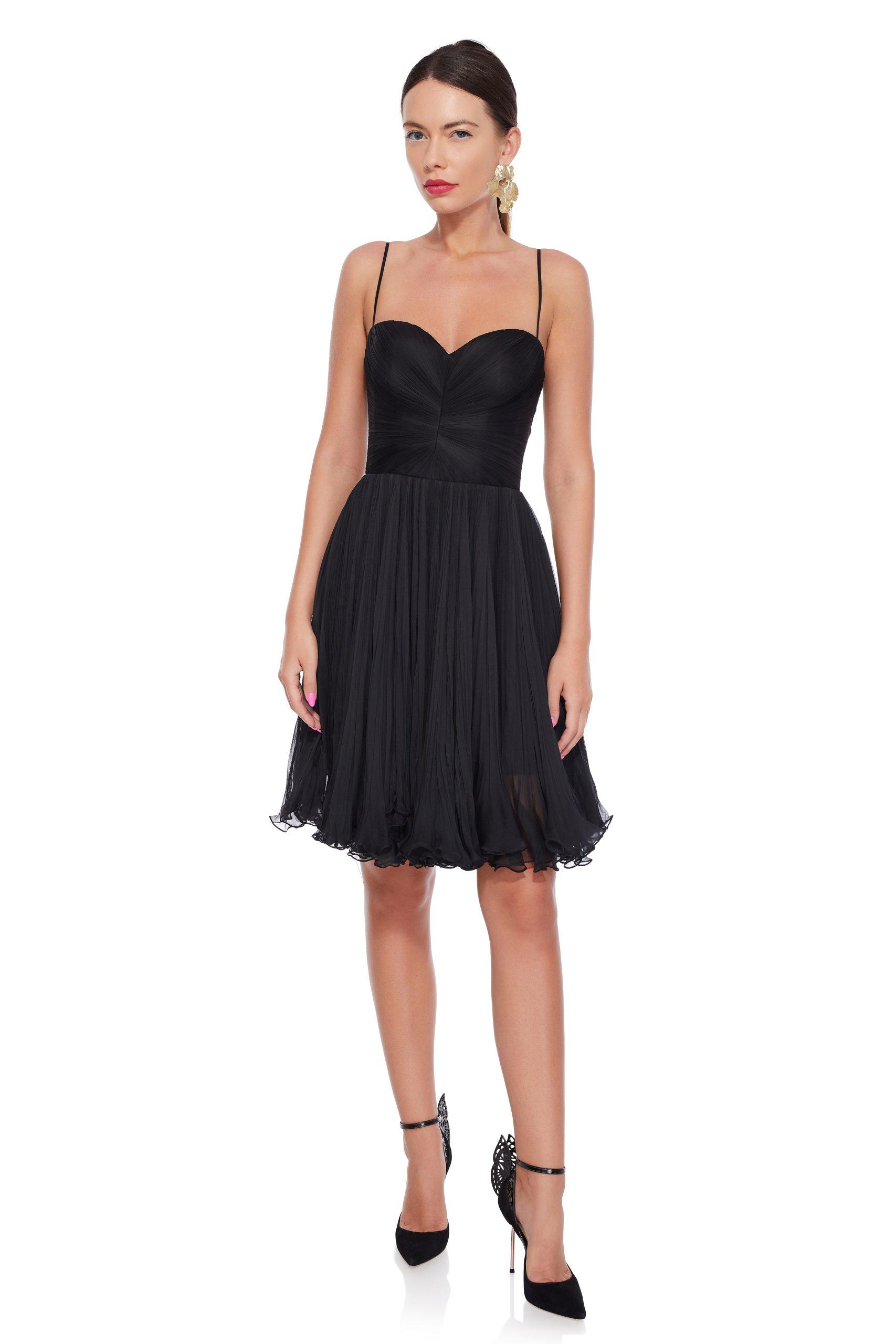 Black silk cocktail dress