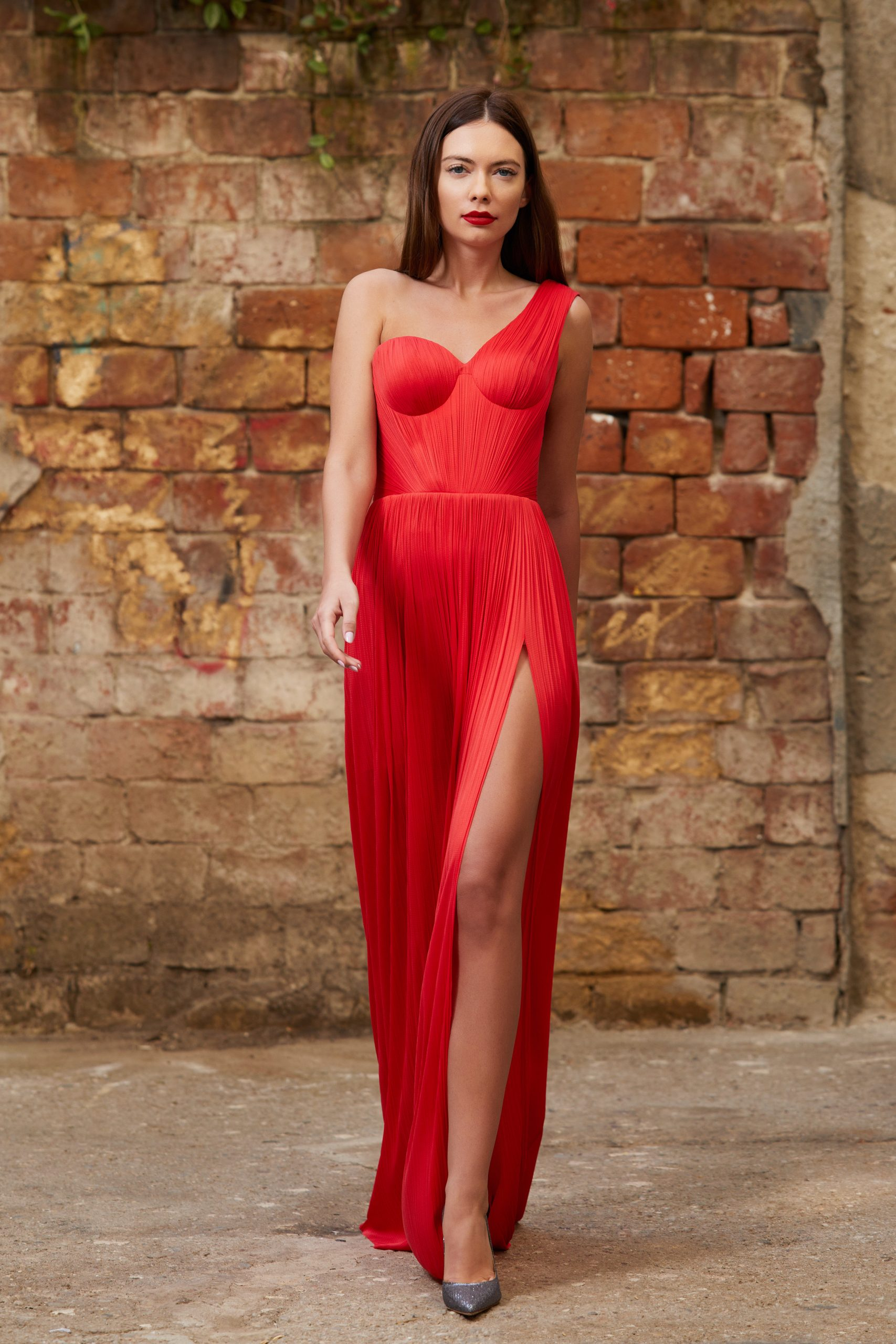 Draped corset evening gown