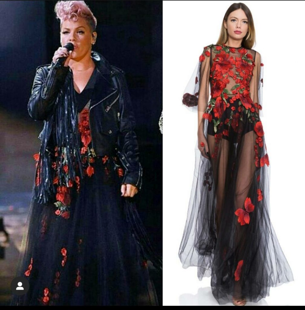Pink wearing our Macre dress - performance at AMAs music awards