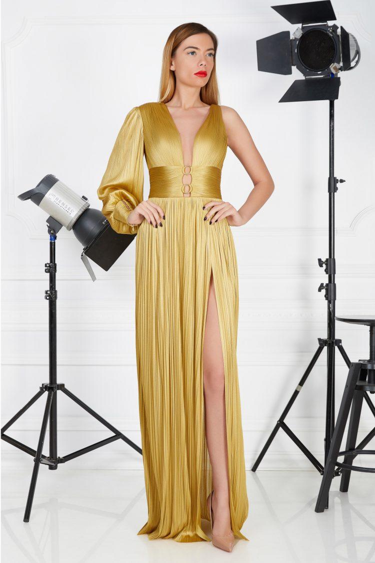 Long golden evening gown