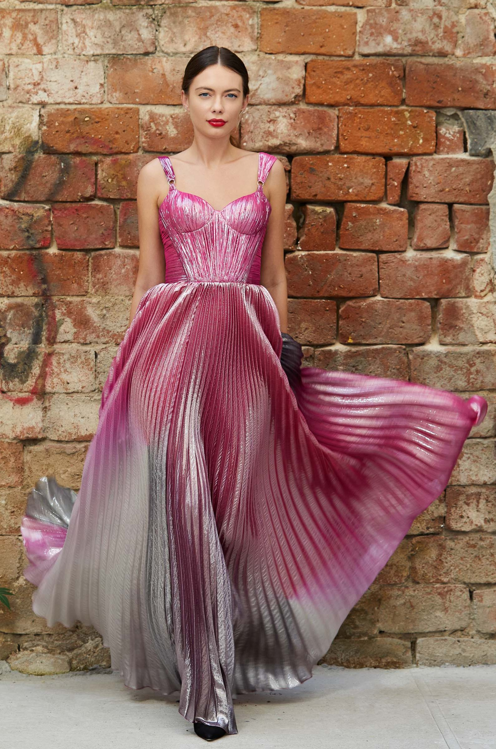 Pleated ombré evening gown