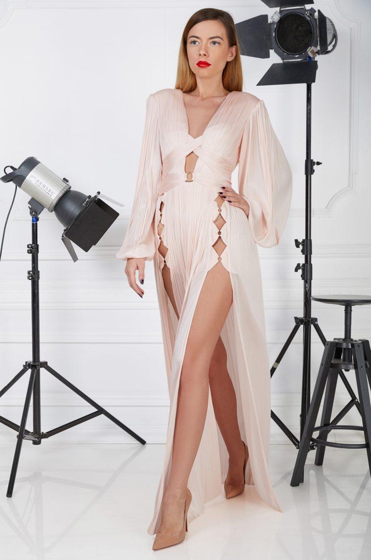Pink silk evening gown