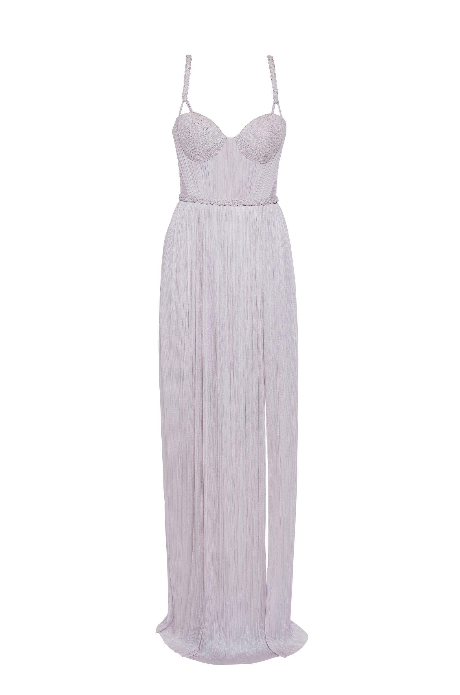Draped silk evening dress