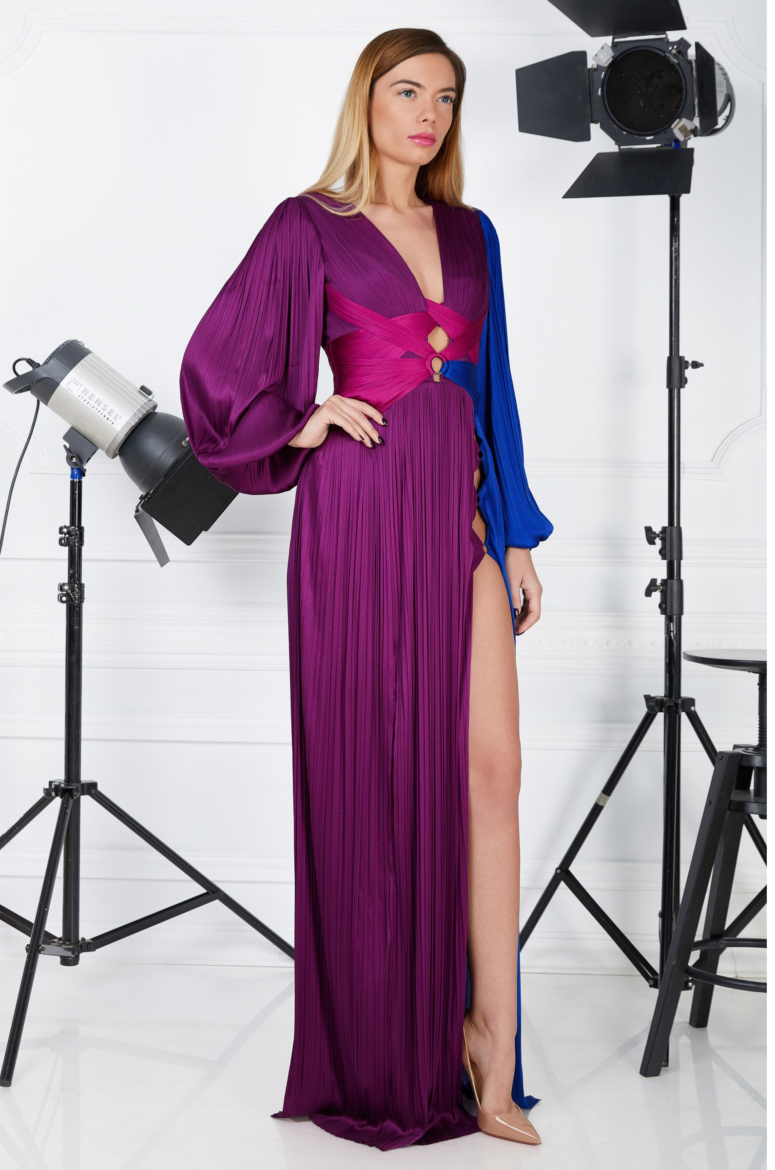 Multicolored silk evening gown