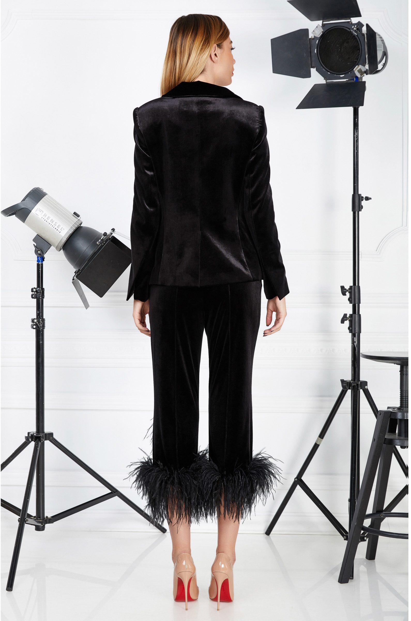 Black velvet cocktail suit