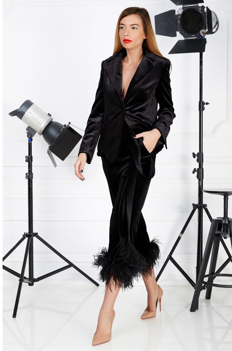 Black velvet cocktail suit