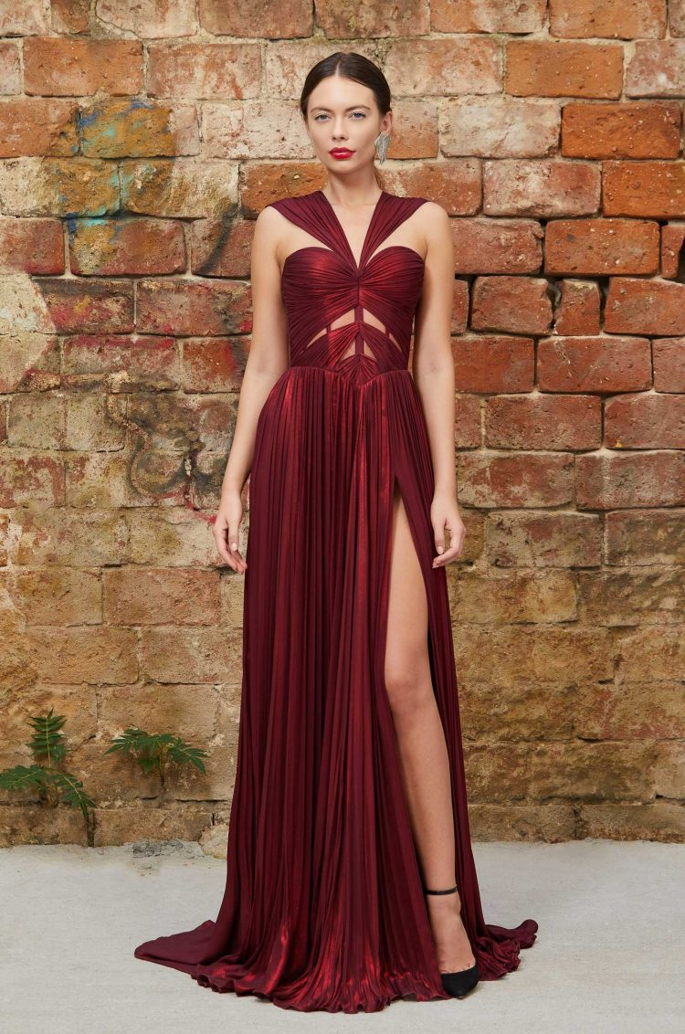 Silk cut-outs evening gown