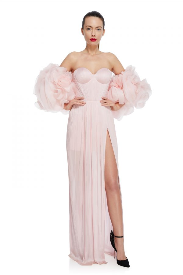 Pink flowers silk gown
