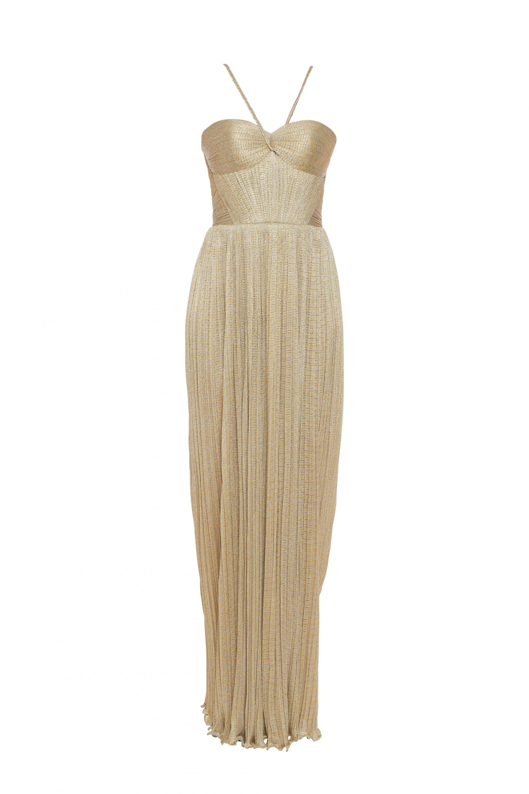Golden draped evening gown