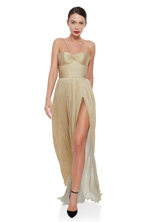 Golden draped evening gown