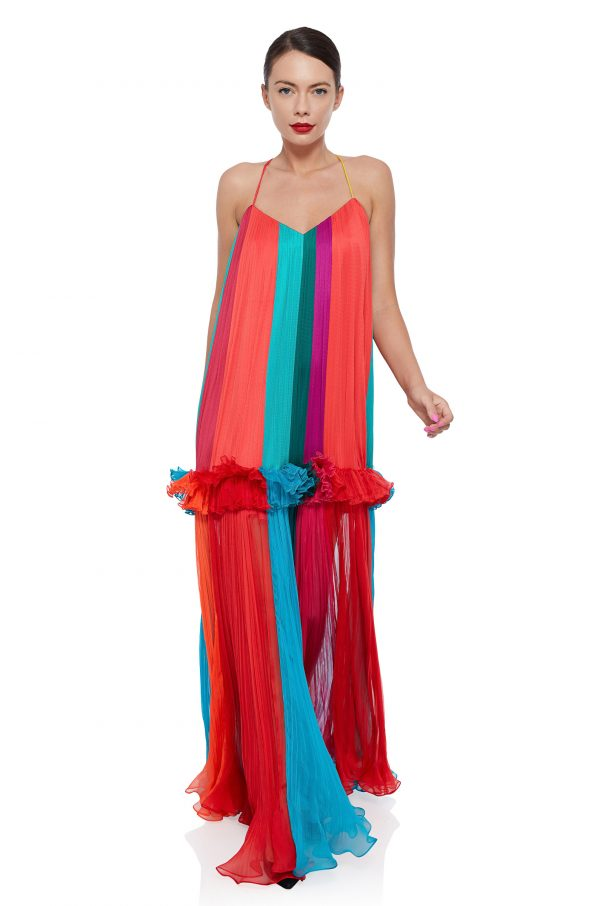 Multicolored silk maxi dress