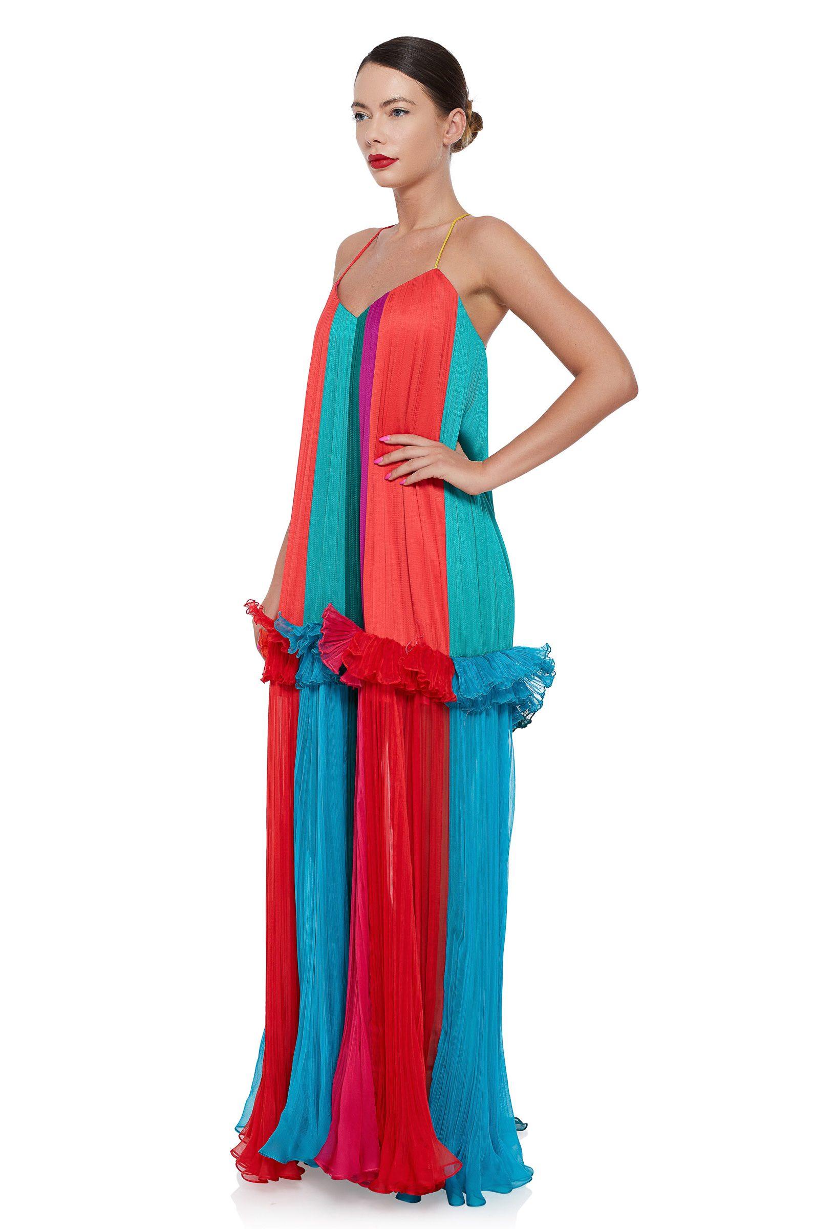 Multicolored silk maxi dress