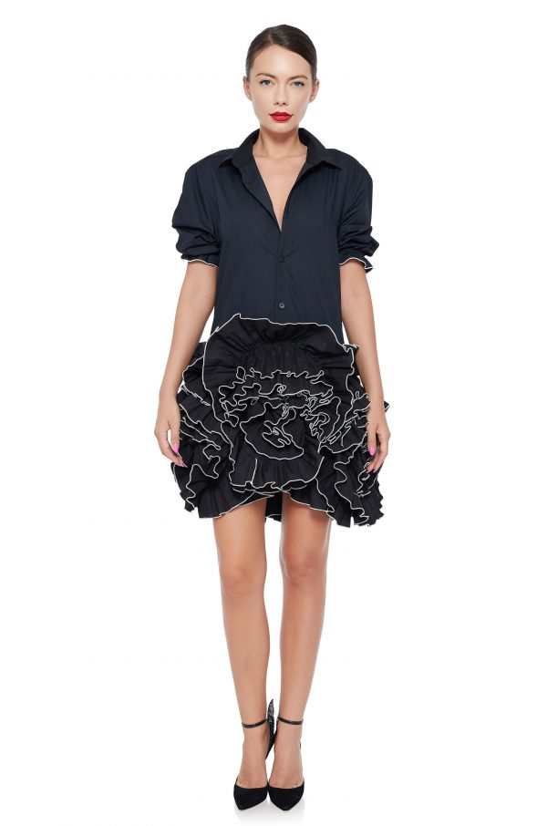 Black ruffled flowers dress