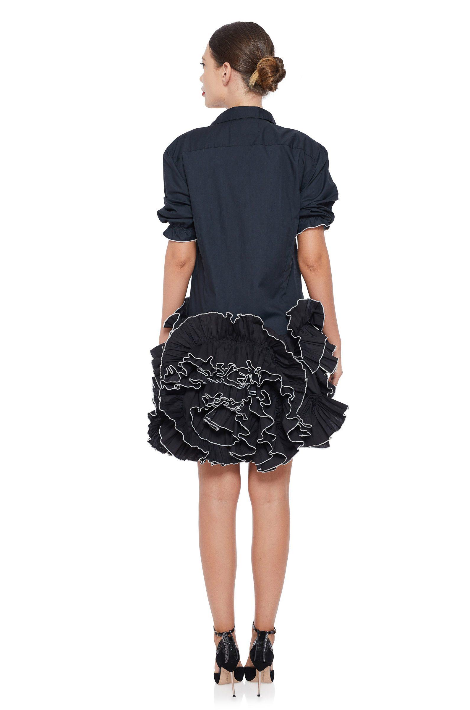 Black ruffled flowers dress