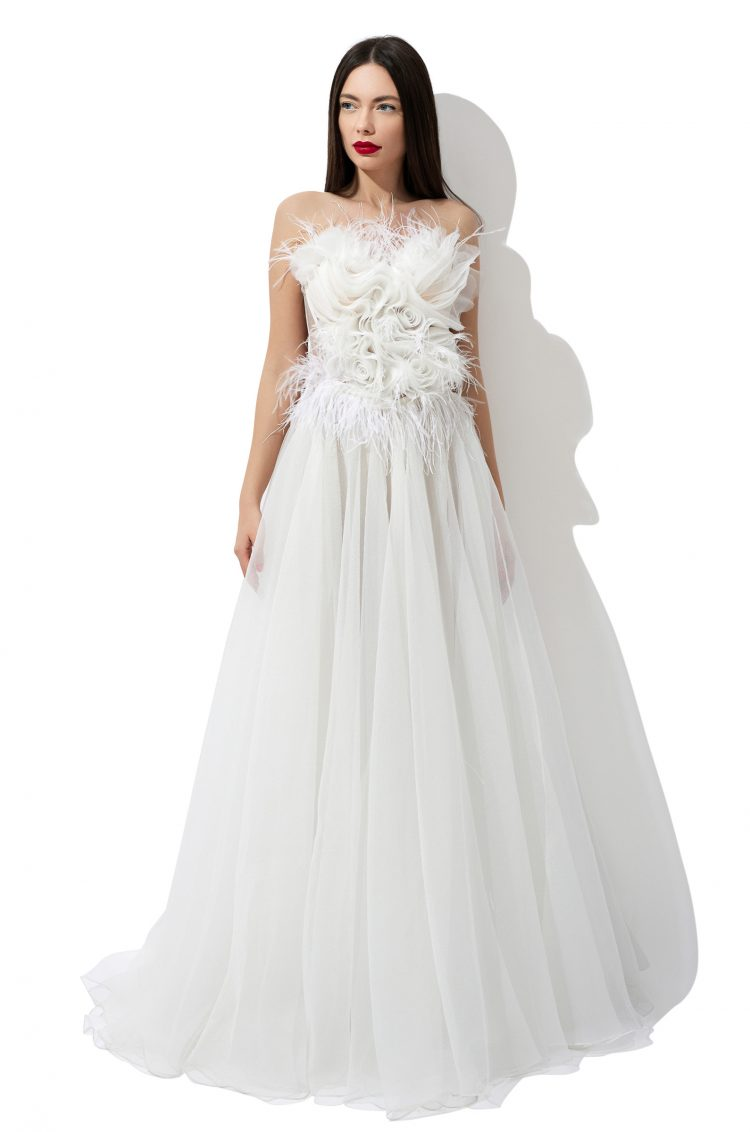 Organza flowers bridal gown