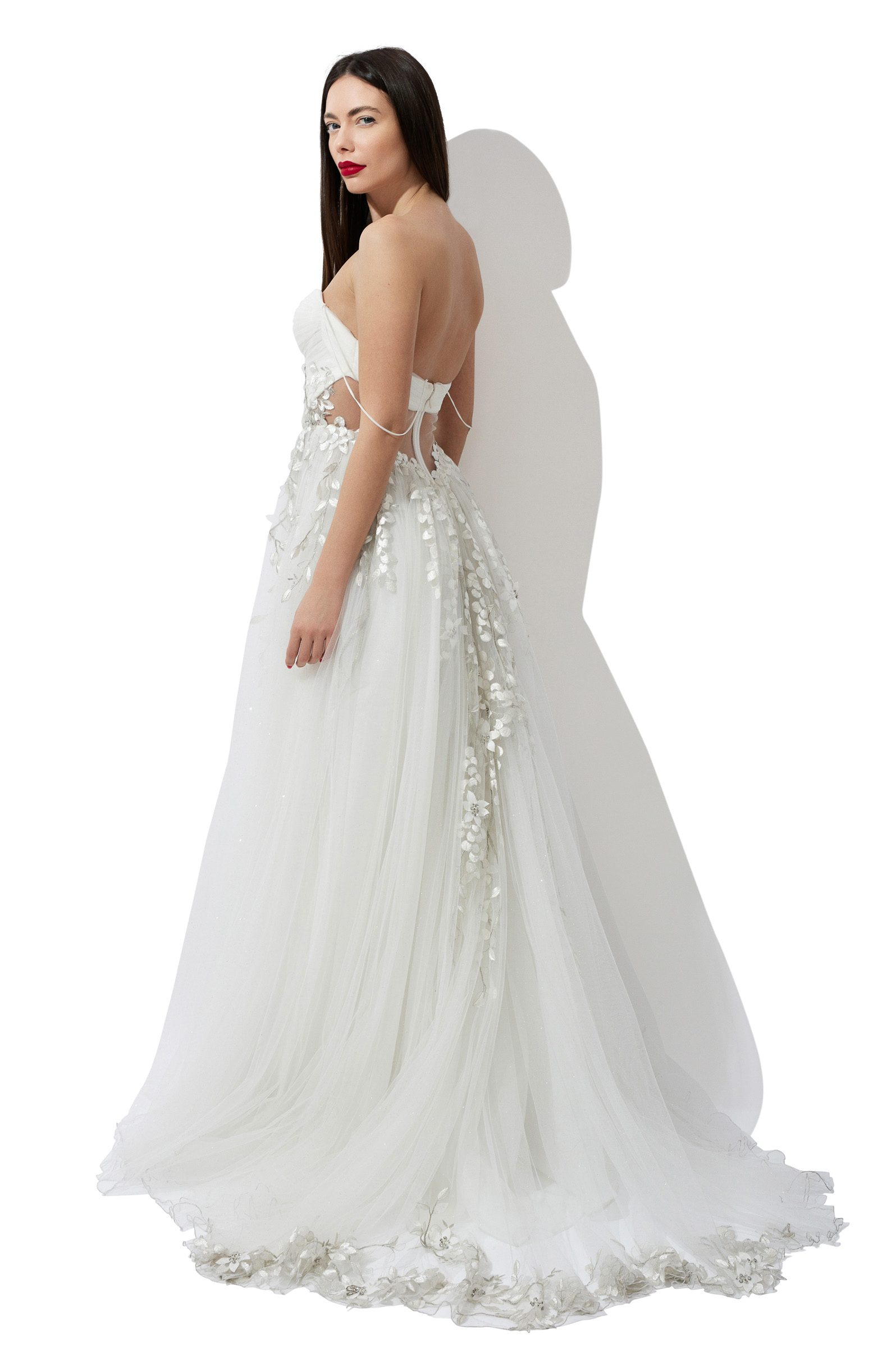 Lace embroidery bridal gown