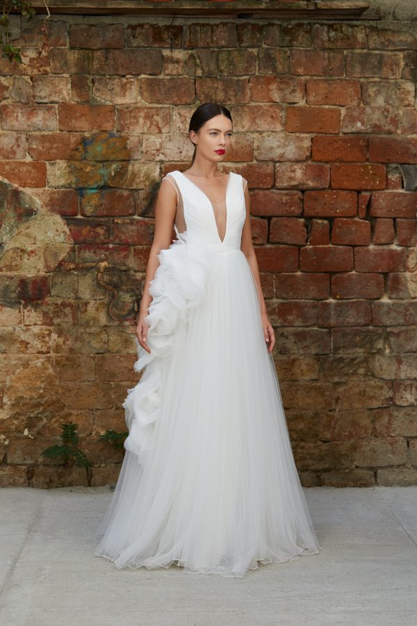 Ruffled organza bridal gown