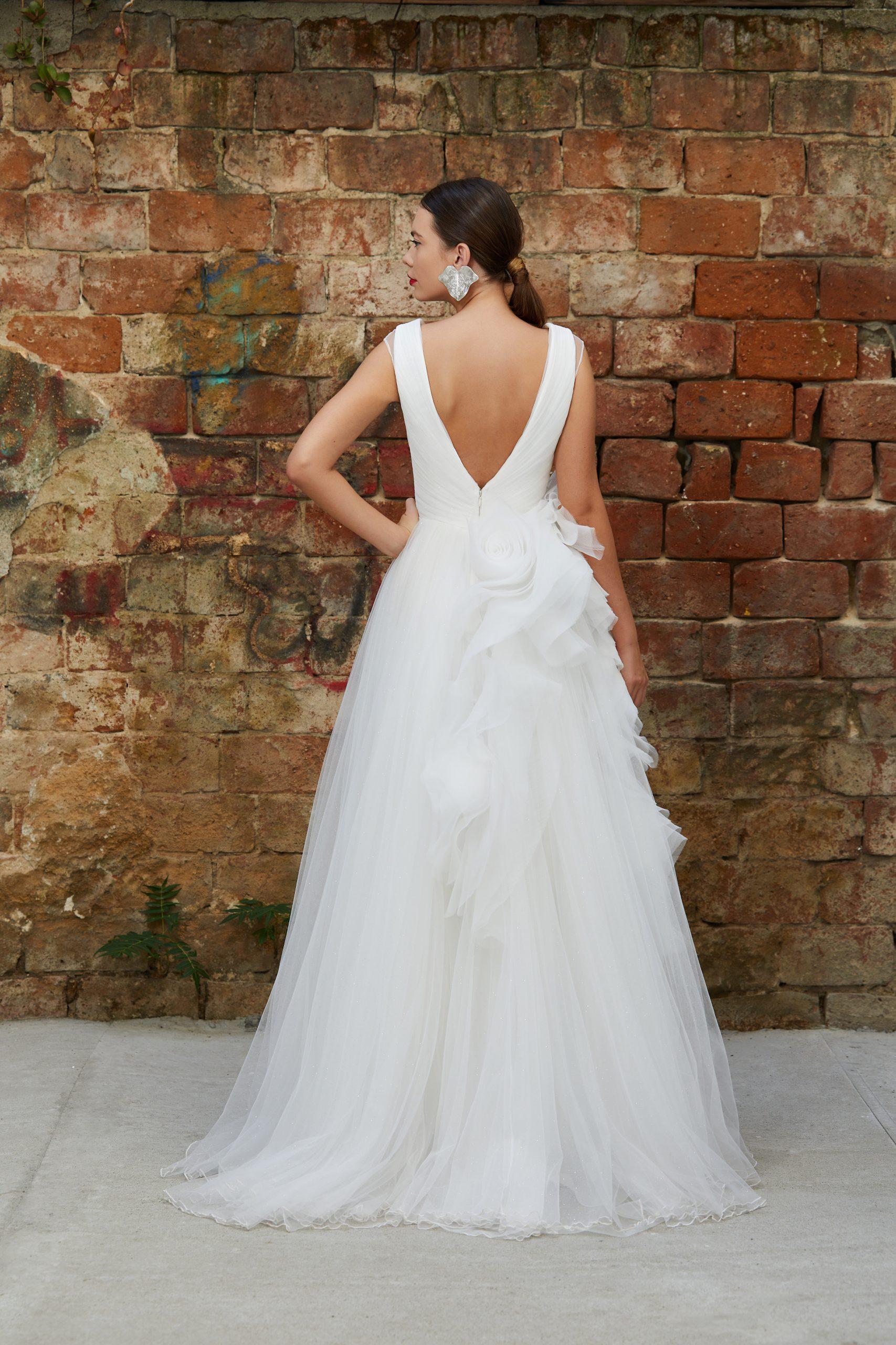 Ruffled organza bridal gown