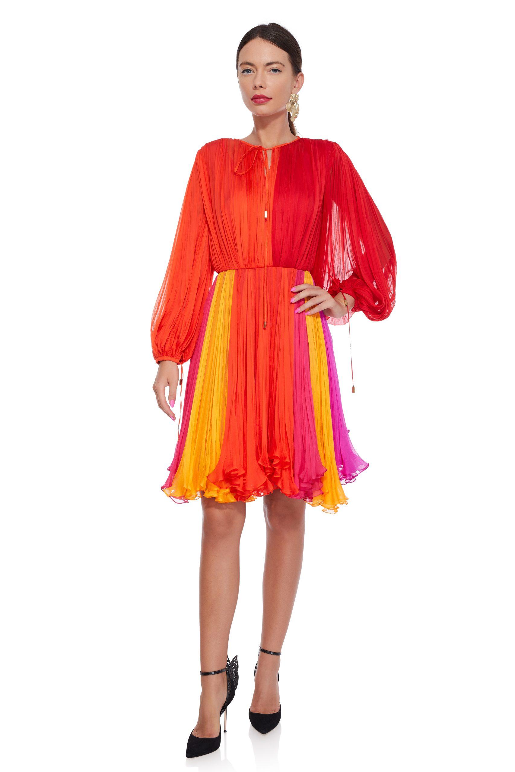 Multicolored silk cocktail dress