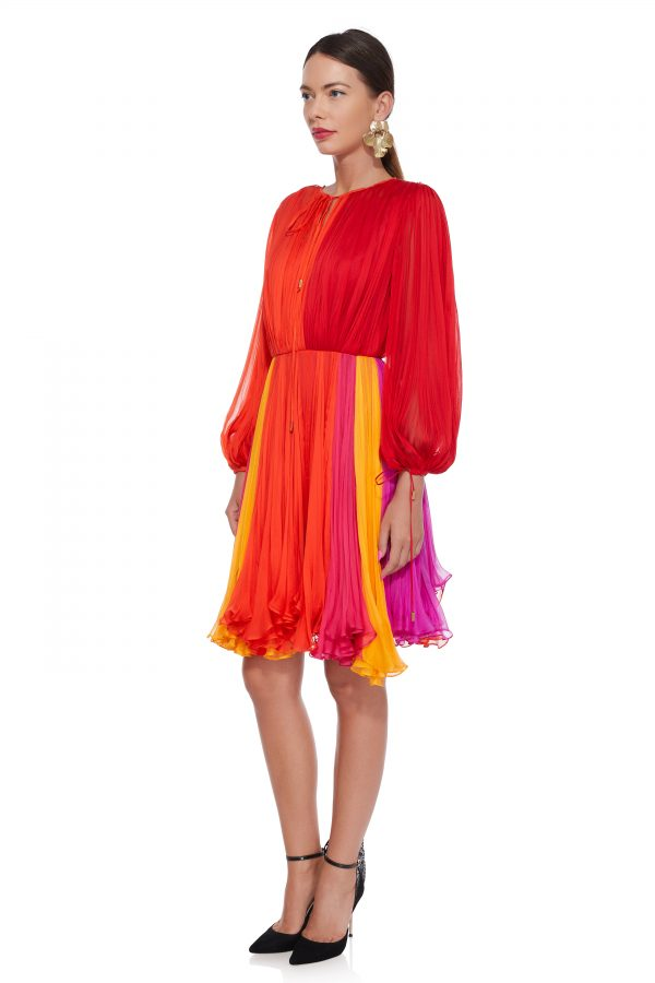 Multicolored silk cocktail dress