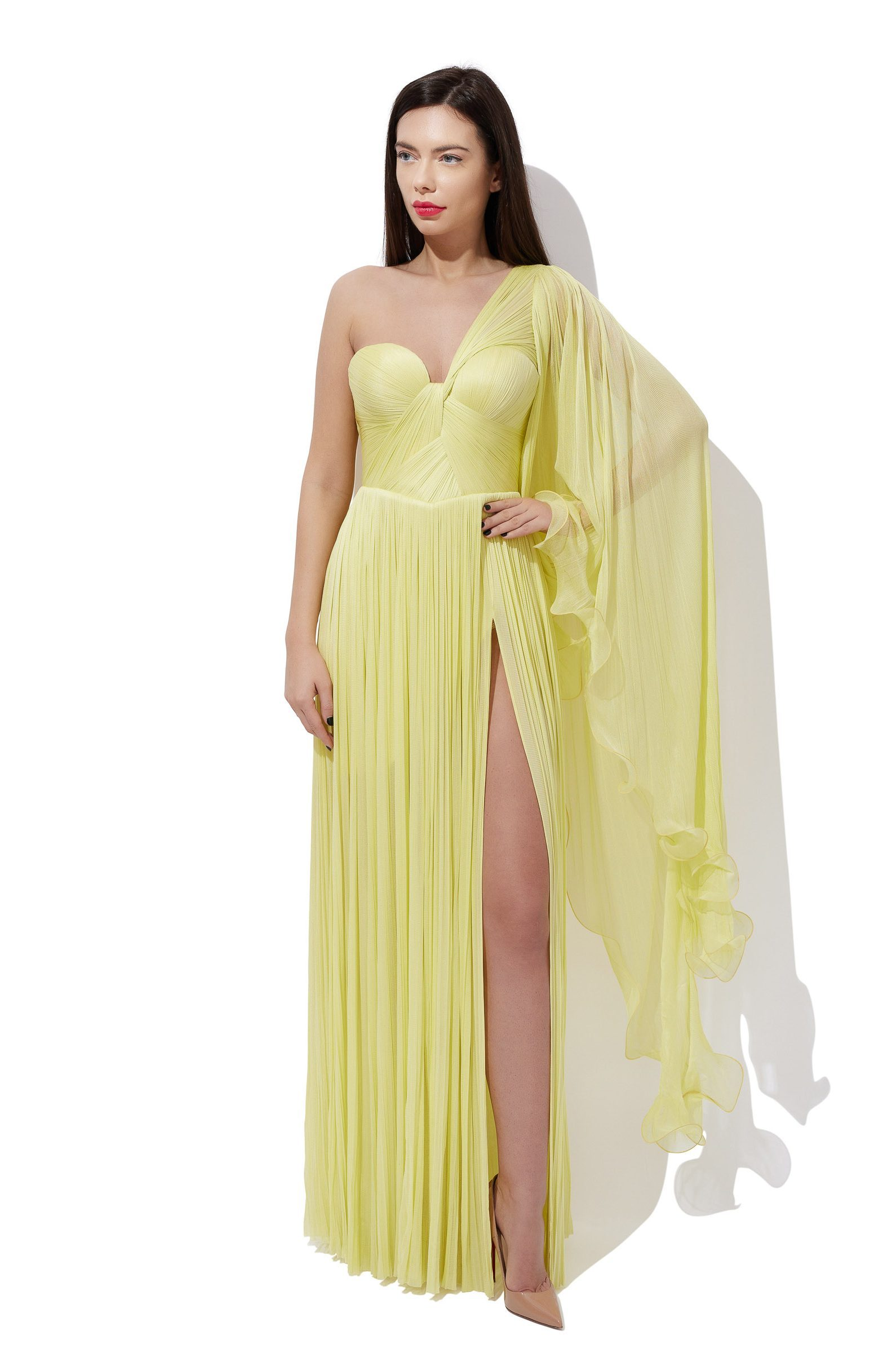 Asymmetrical sleeve corset gown