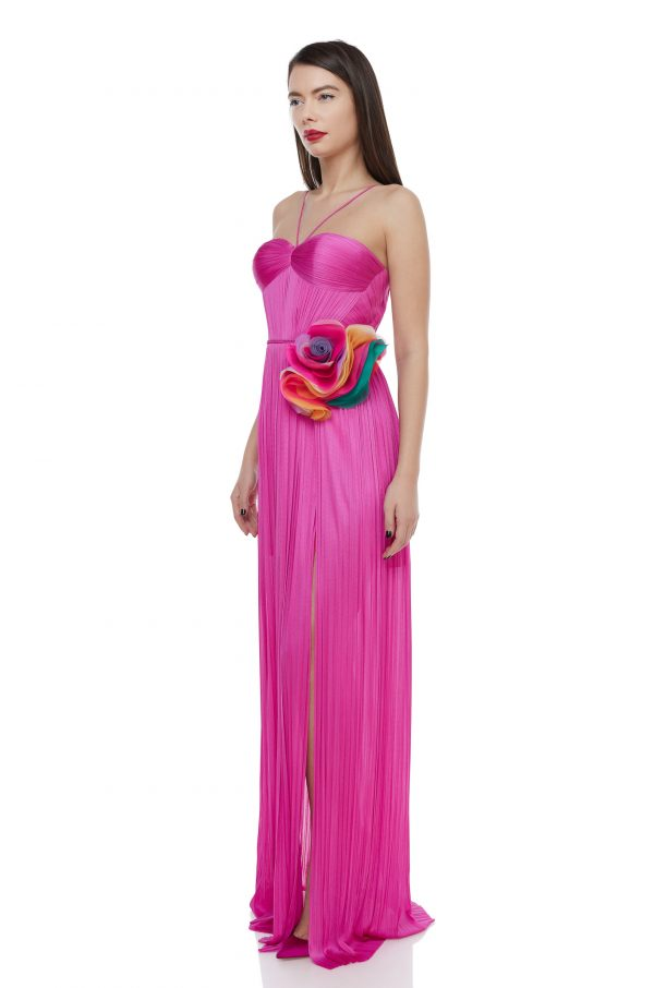 Draped corset silk gown