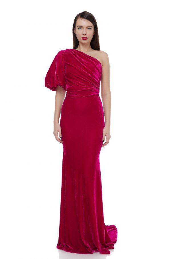 Asymmetrical velvet evening gown