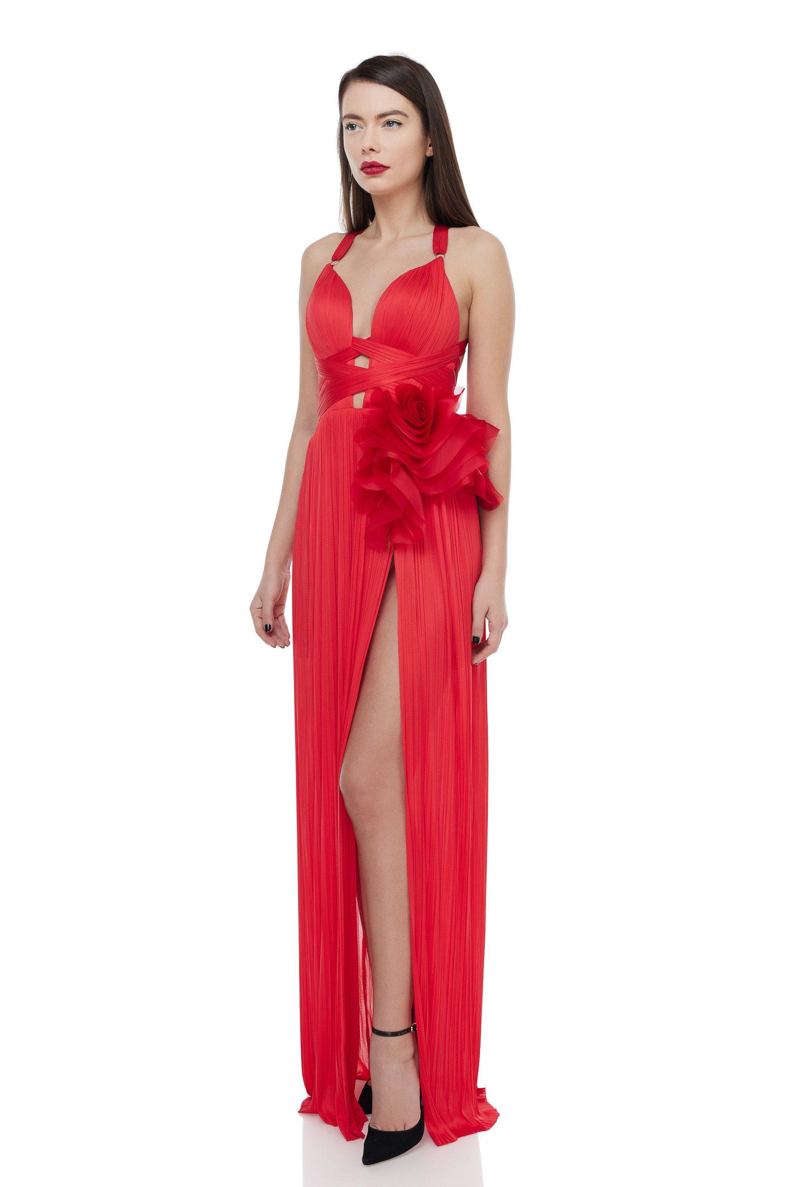 Silk flowers evening gown