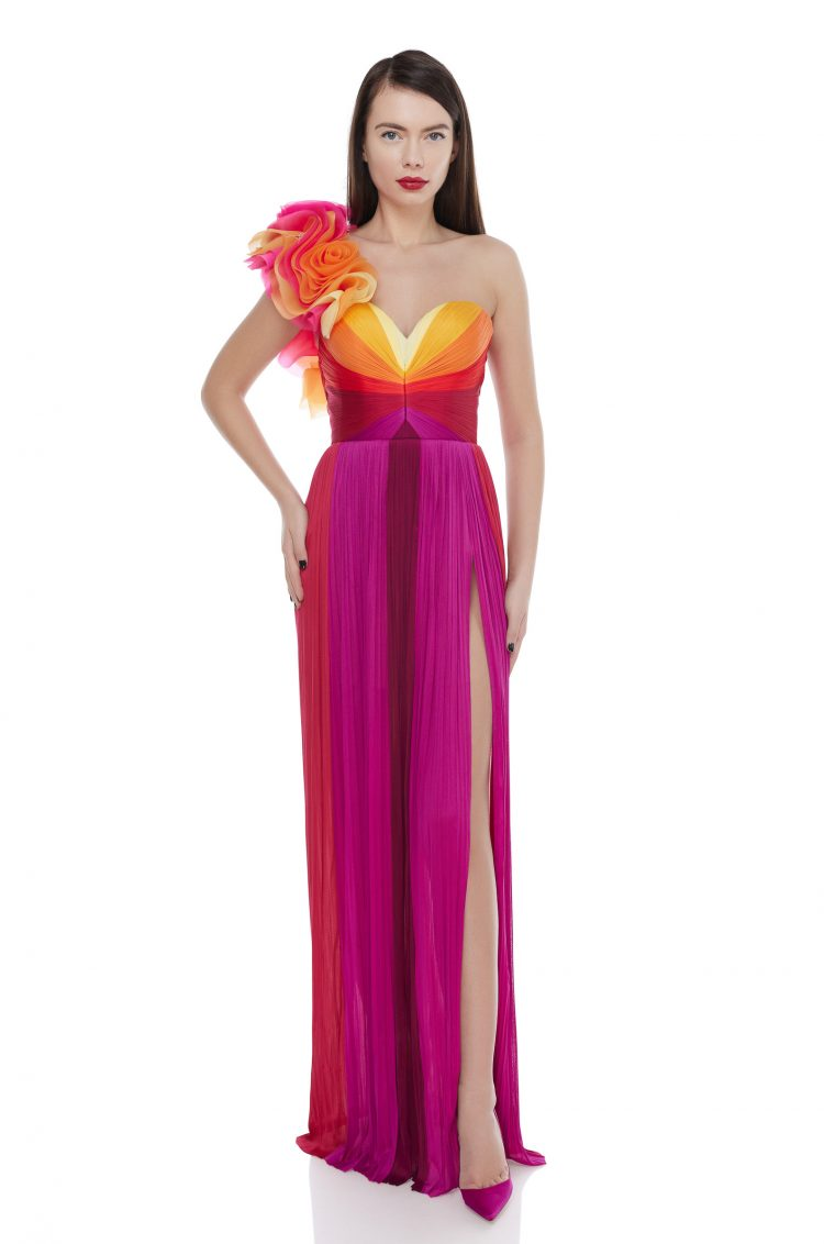 Multicolored silk ruffles gown