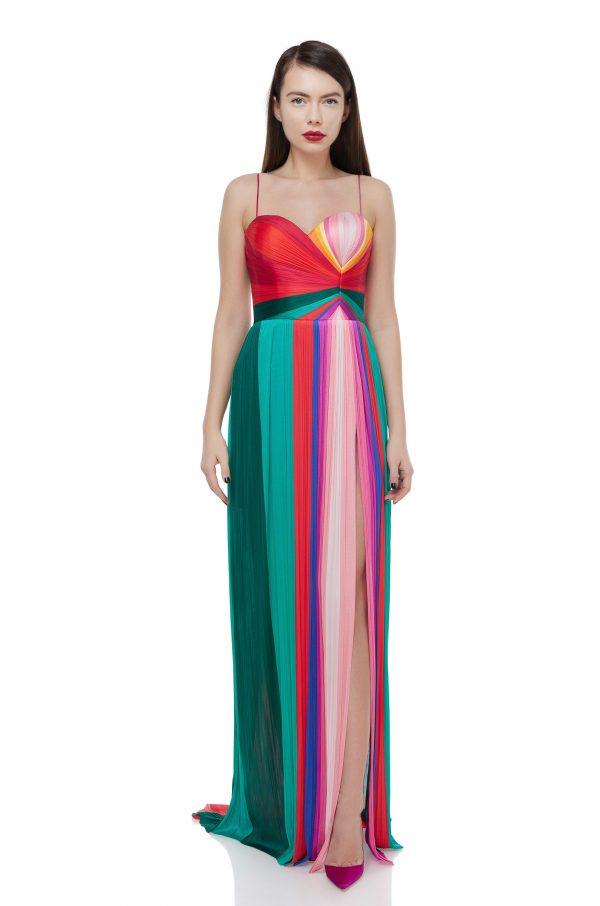 Multicolored silk corset dress