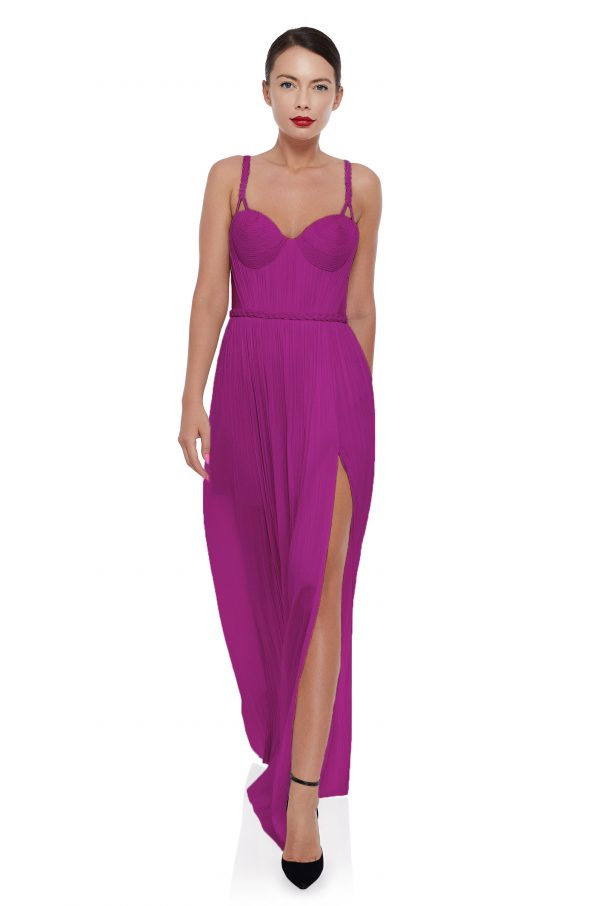 Draped silk evening dress