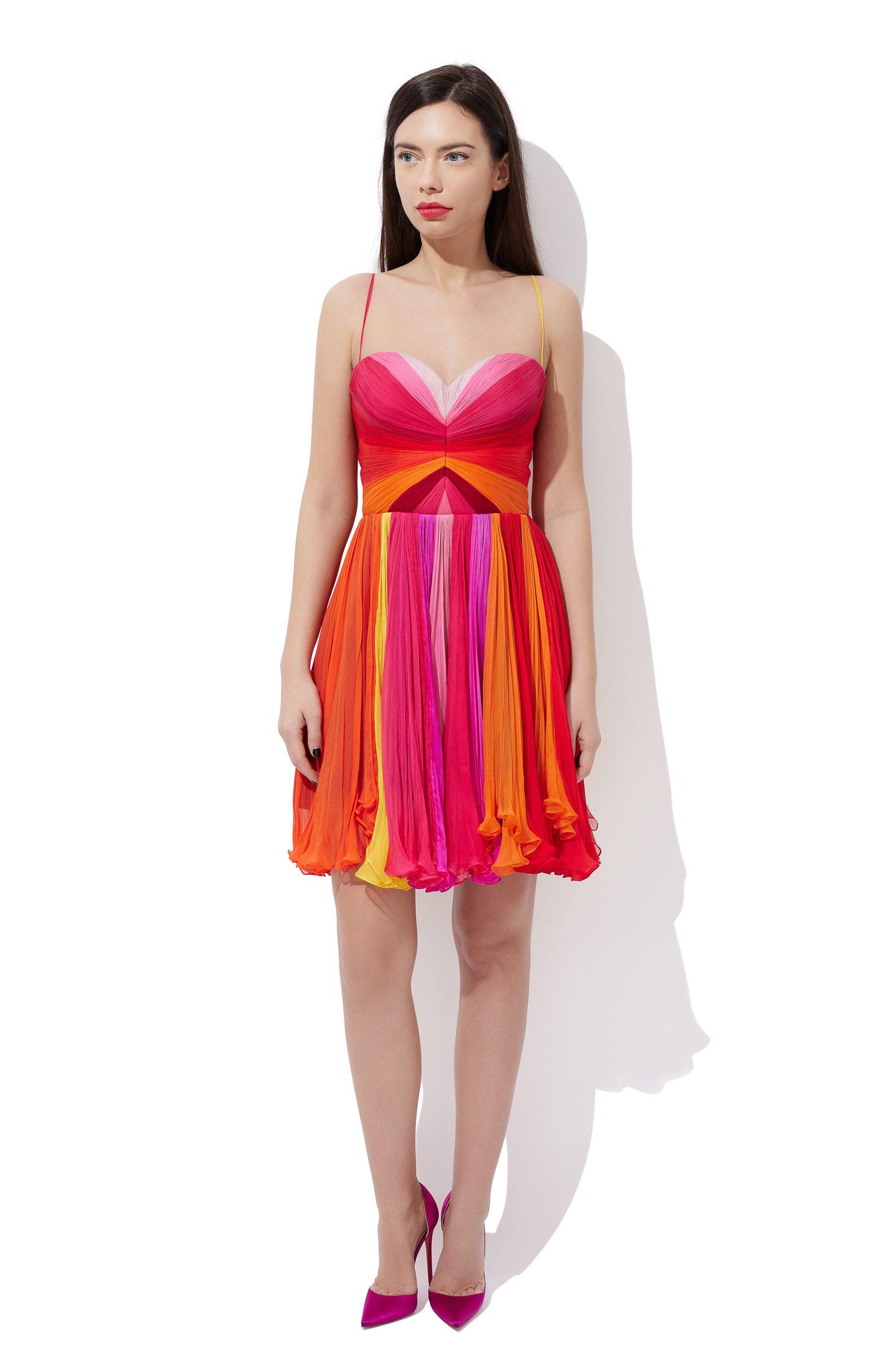 Multicolored corset cocktail dress
