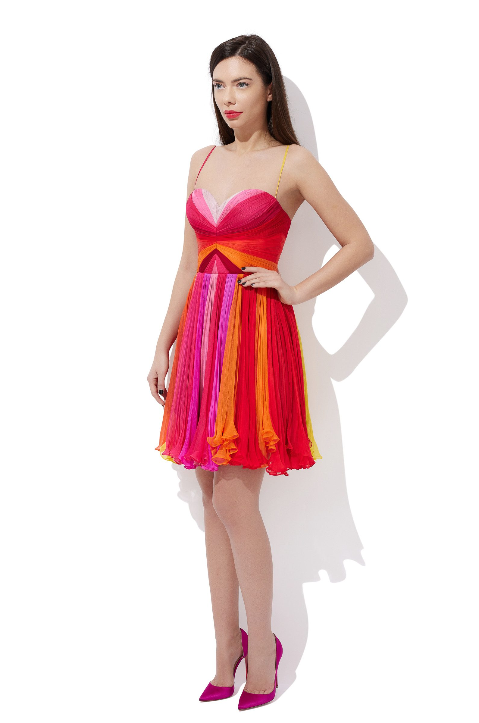 Multicolored corset cocktail dress