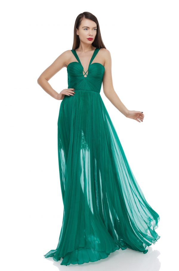 Silk corset flared gown