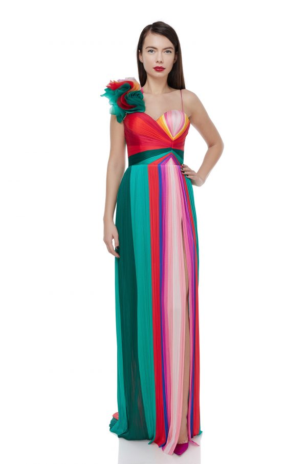 Multicolored ruffled rainbow gown