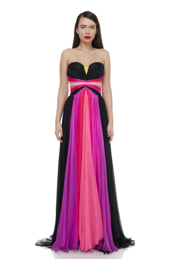 Multicolored corset evening dress