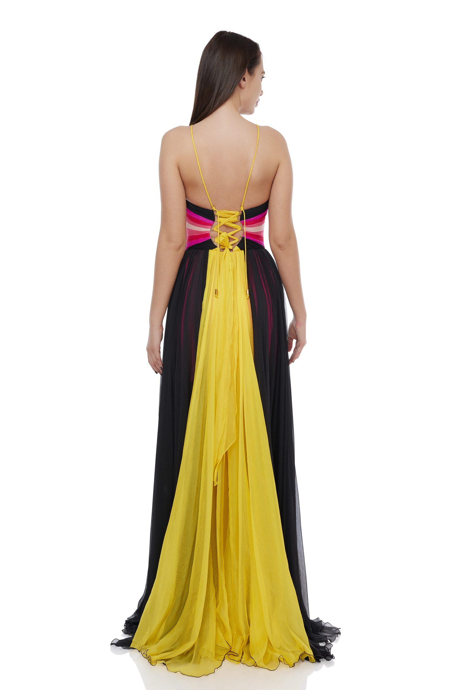 Multicolored corset evening dress