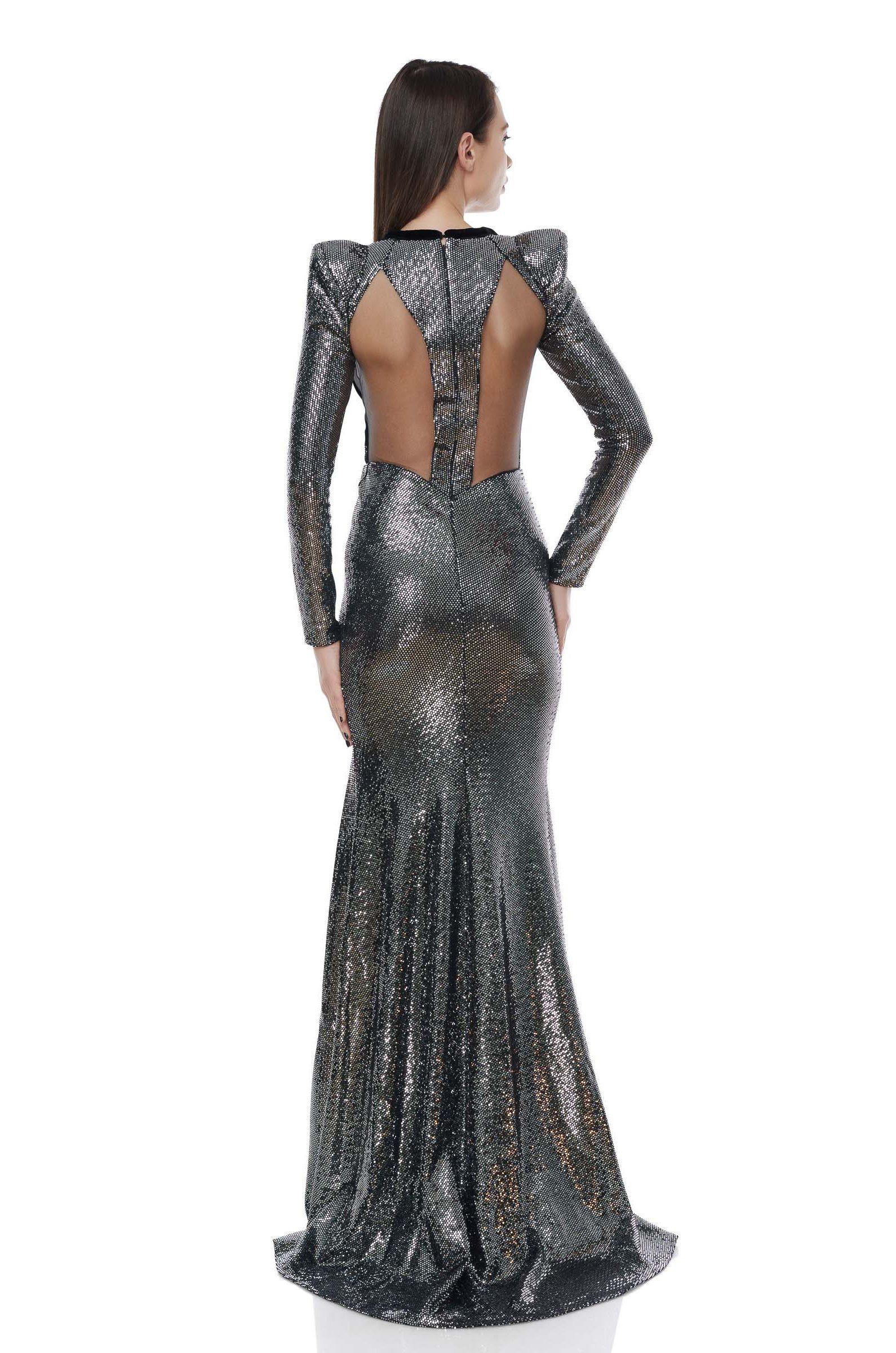 Metallic-Lurex evening gown