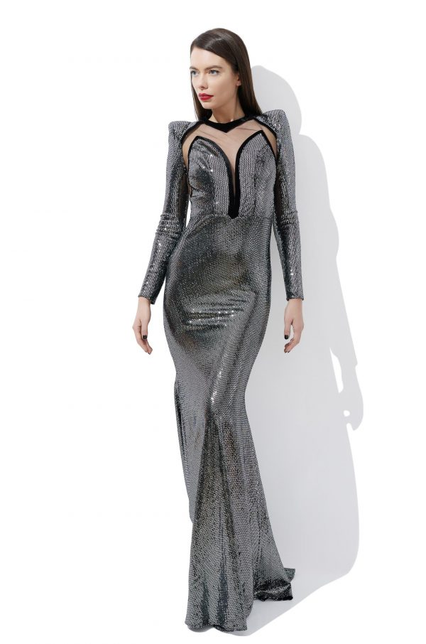 Metallic-Lurex evening gown